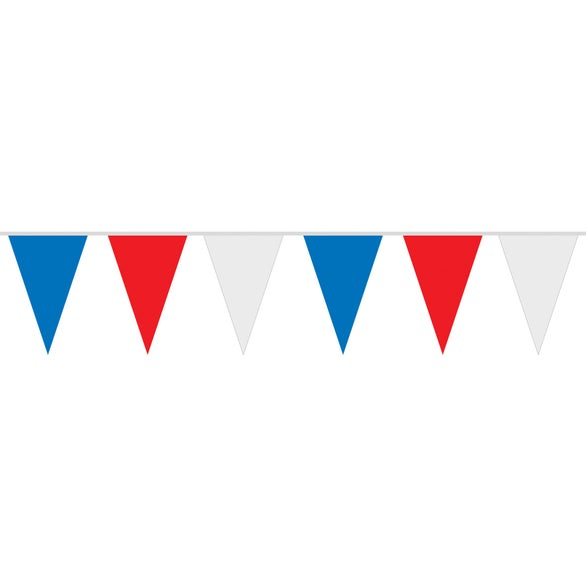 Red / White / Blue Patriotic Polyethylene Pennant String