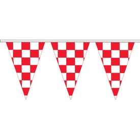 Red and White Checkered Triangle Pennant Strings
