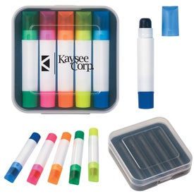 Set Of 5 Wax Highlighters Imprinted with Your Logo