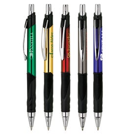 Metallic Ballpoint Pen with Rubber Grip