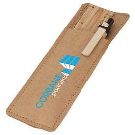 Imprinted Bamboo Ruler and Recycled Paper Pen Set