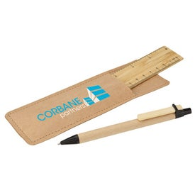 Branded Bamboo Ruler and Recycled Paper Pen Set
