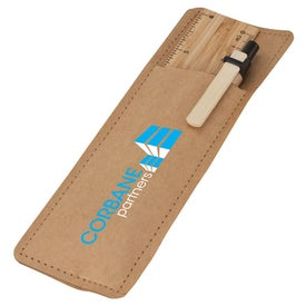 Monogrammed Bamboo Ruler and Recycled Paper Pen Set