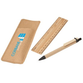 Company Bamboo Ruler and Recycled Paper Pen Set