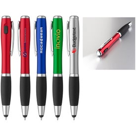 Curvaceous Stylus Ballpoint Pen with Light