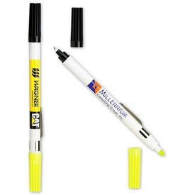 Customized Double Header Nylon Point Pen & Highlighter