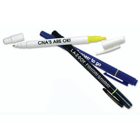 Dual Tip Pen/Highlighter Imprinted with Your Logo