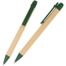 Imprinted Eco Green Paper Barrel Pen