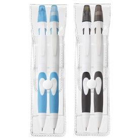Two-Tone Fame Pen Highlighter and Pencil Eraser Set