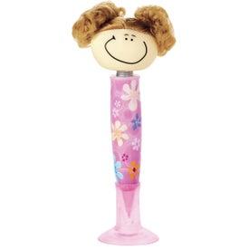 Monogrammed Goofy Pig-Tailed Girl Pen