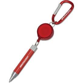 Metal Twist Pen with Retractor and Carabiner for Advertising
