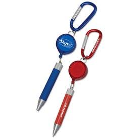 Metal Twist Pen with Retractor and Carabiner