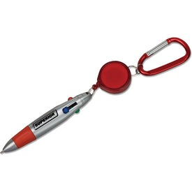 Pen with Retractor and Carabiner Imprinted with Your Logo