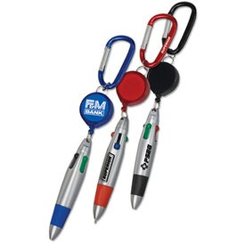 Pen with Retractor and Carabiner