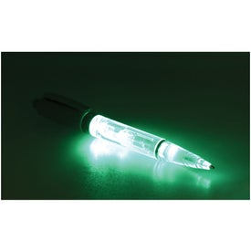 Green Plastic Light Pen Imprinted with Your Logo