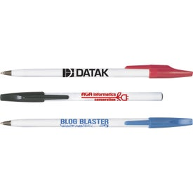 Plastic Stick Pen with White Barrel