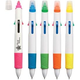 Custom Quatro Pen With Highlighter