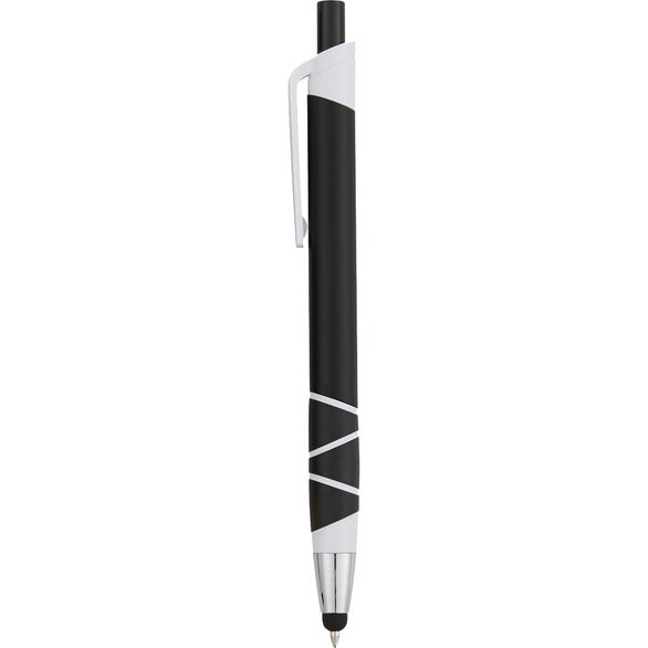 Black / White Ribbon Stylus Grip Pen
