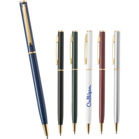 Slim Metal Pen with Gold Accents