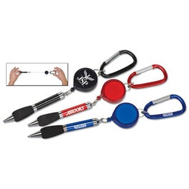 Soft Grip Metal Pen with Retractor and Carabiner