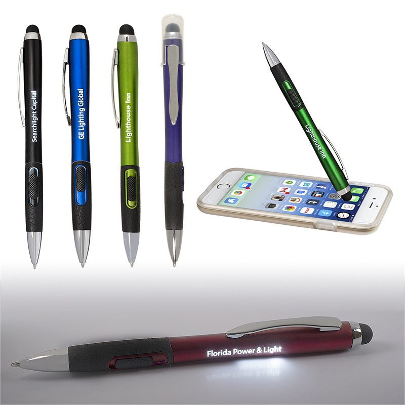 group photo light up your logo stylus pen with matte finish for your company