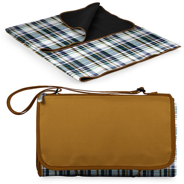 English Plaid / Beige Flap Outdoor Picnic Blanket Tote