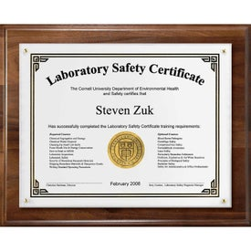 Wood Certificate Frame and Overlay Plaques