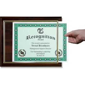 "Slide-In Certificate Plaques with Walnut Finish (12"" x 10"")"