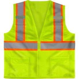 Class 2 Deluxe 8 Pocket Vests (Safety Green/Gray)