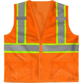 Class 2 Deluxe 8 Pocket Vests (Safety Orange/Gray)