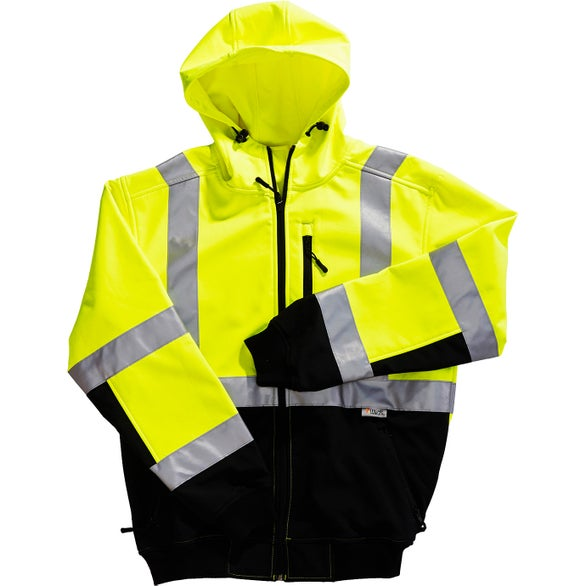 Yellow / Black Xtreme-Flex Soft Shell Hoodie Safety Jacket