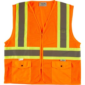 Xtreme Visibility DOT Class 2 Contrast Stripe Zip Safety Vests (Unisex, Orange/Yellow)