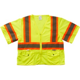 Xtreme Visibility DOT Class 3 Contrast Stripe Zip Safety Vests (Unisex, Yellow/Orange)