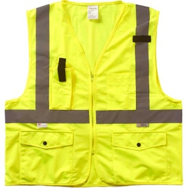 Xtreme Visibility Surveyor Class 2 Zip Safety Vests (Unisex, Yellow/Silver)