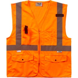 Xtreme Visibility Surveyor Class 2 Zip Safety Vests (Unisex, Orange/Silver)