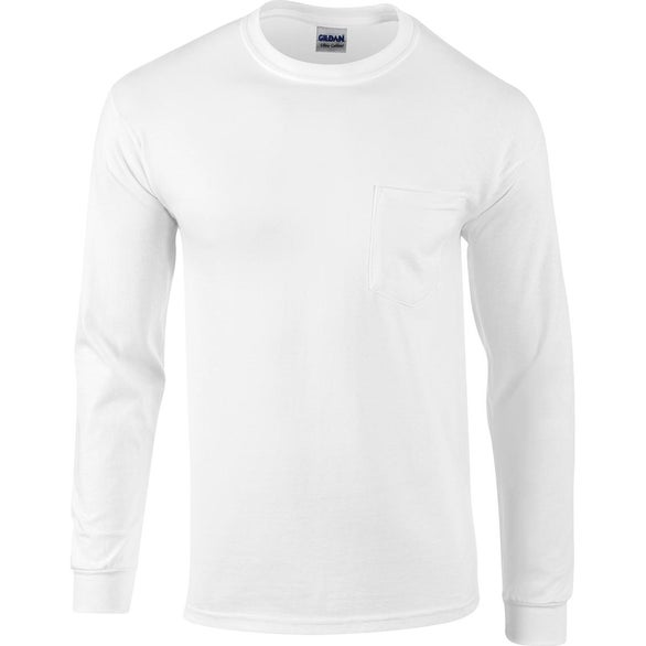White Gildan Adult Ultra Cotton Long-Sleeve Pocket T-Shirt