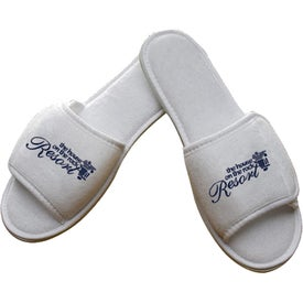 Open Toe Terry Slipper With Hook and Loop Closures