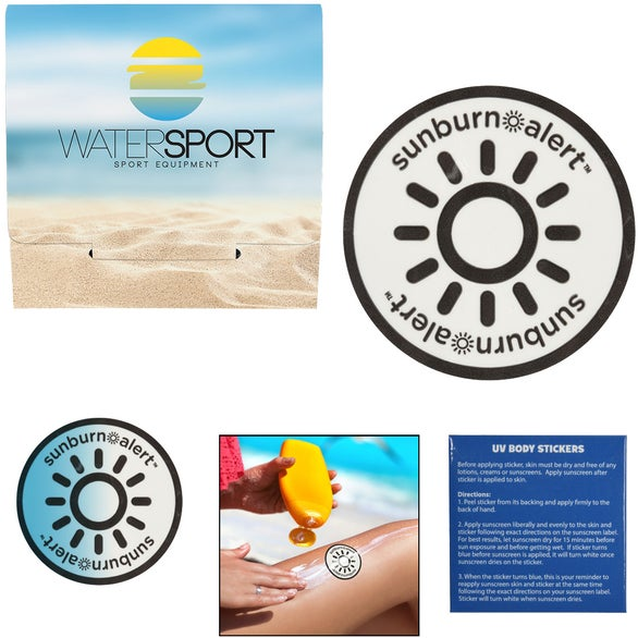White 3-Pack Sunburn Alert Circle Stickers with Custom Pack