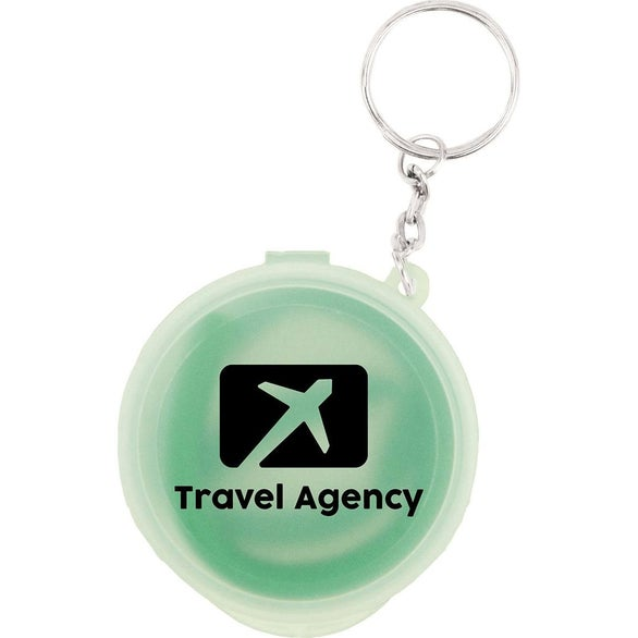 Clear / Lime Silicone Straw With Case And Key Ring