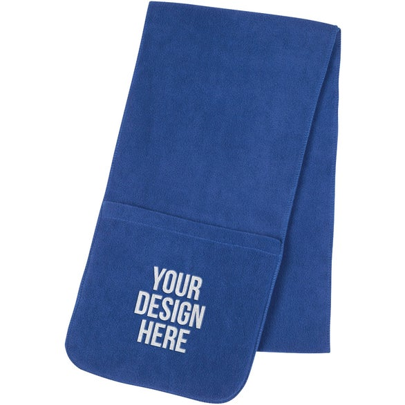 Royal Blue Fleece Scarf with Pockets