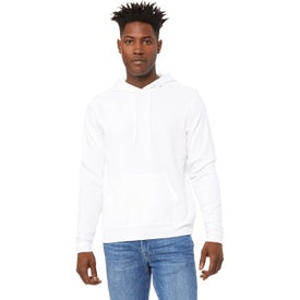 Bella+Canvas Sponge Fleece Pullover Hooded Sweatshirt (Men's, White and Direct-to-Garment White)
