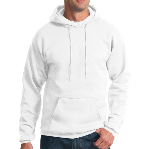 White Port & Company Essential Fleece Pullover Hooded Sweatshirt
