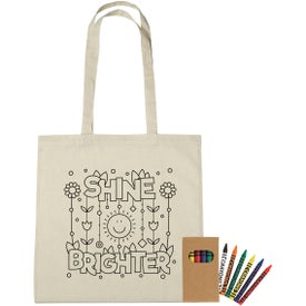 100% Cotton Coloring Tote Bags with Crayons