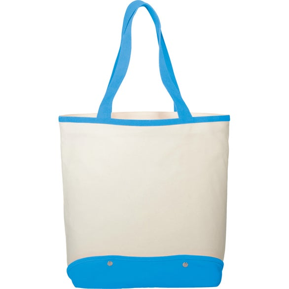 Tan / Aqua Cotton Canvas Sun and Sand Beach Tote Bag