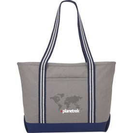 Atlantic Stripe Cotton Zippered Boat Tote Bags