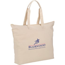 Basic Cotton Canvas Zippered Tote Bag