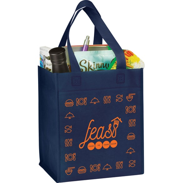Navy Blue Basic Grocery Tote Bag