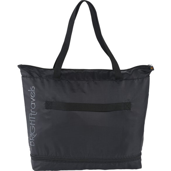 Black BRIGHTtravels Foldable Zippered Tote Bag