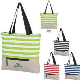 Broad Stripe Zippered Tote Bag