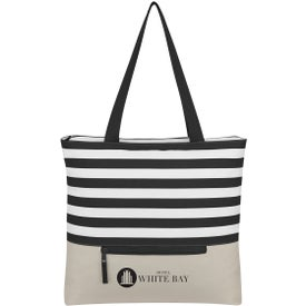 Broad Stripe Zippered Tote Bag